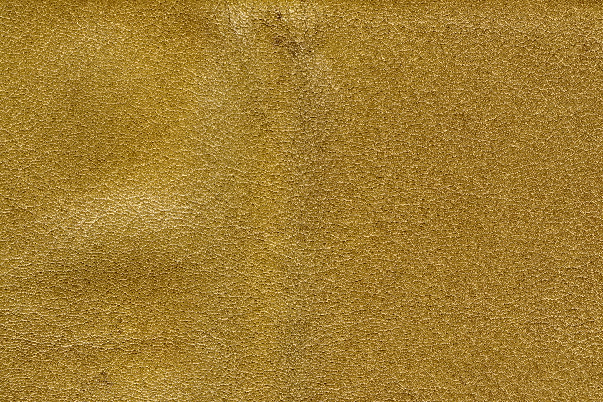 黄色に染められた革のテクスチャ素材