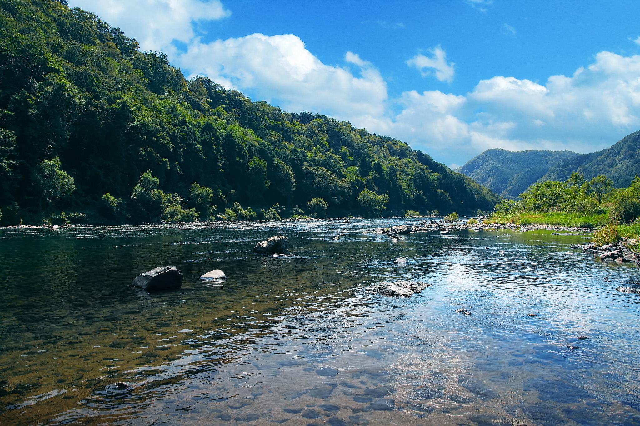 「夏の里山と流れる清流」の画像を無料ダウンロード