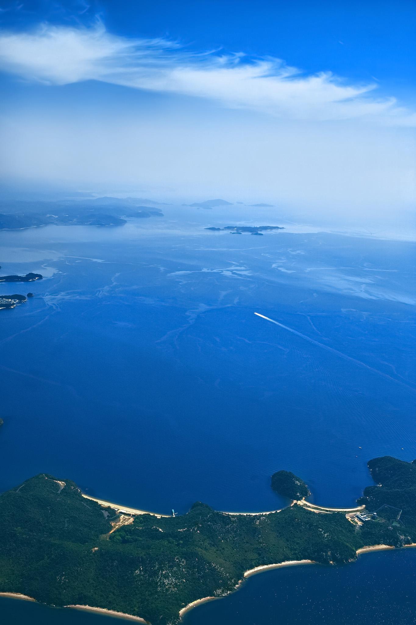 「青い海と島」