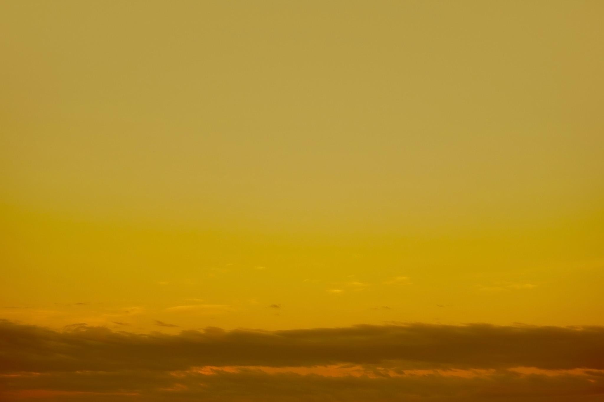 「金色の空に黒雲が這う夕焼け」
