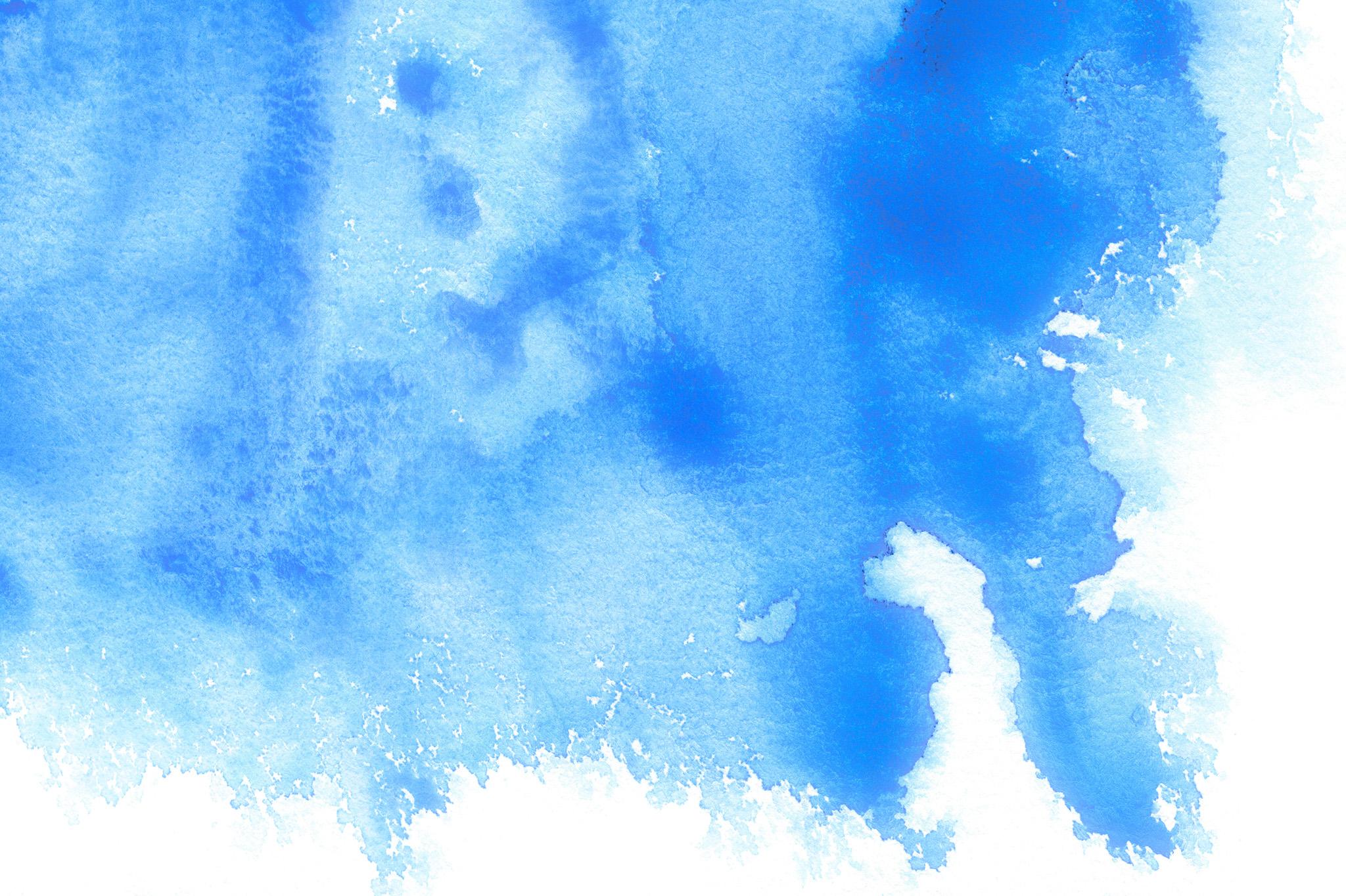「ブルーが滲む水彩テクスチャ」