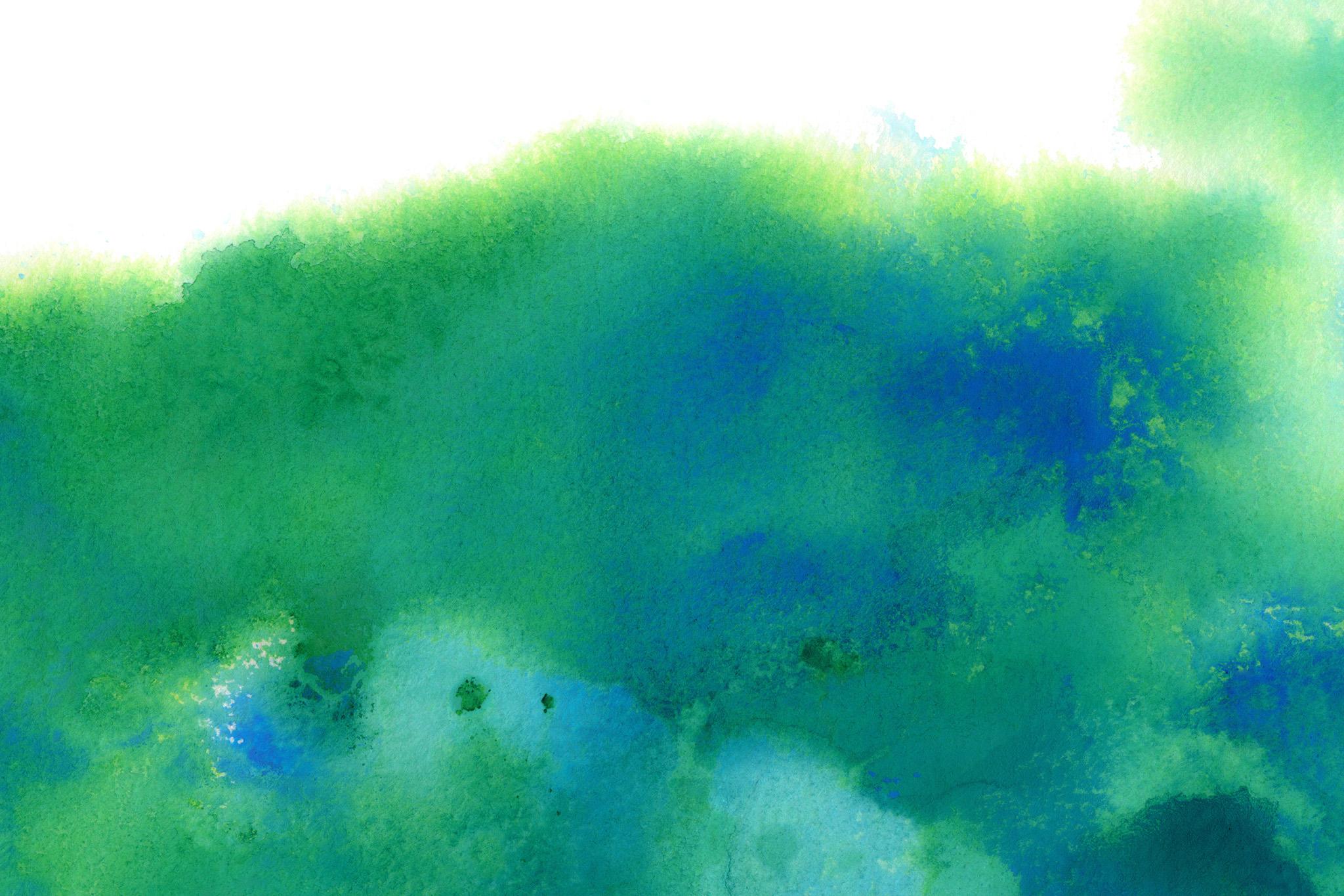 「緑と青の水彩ぼかし」