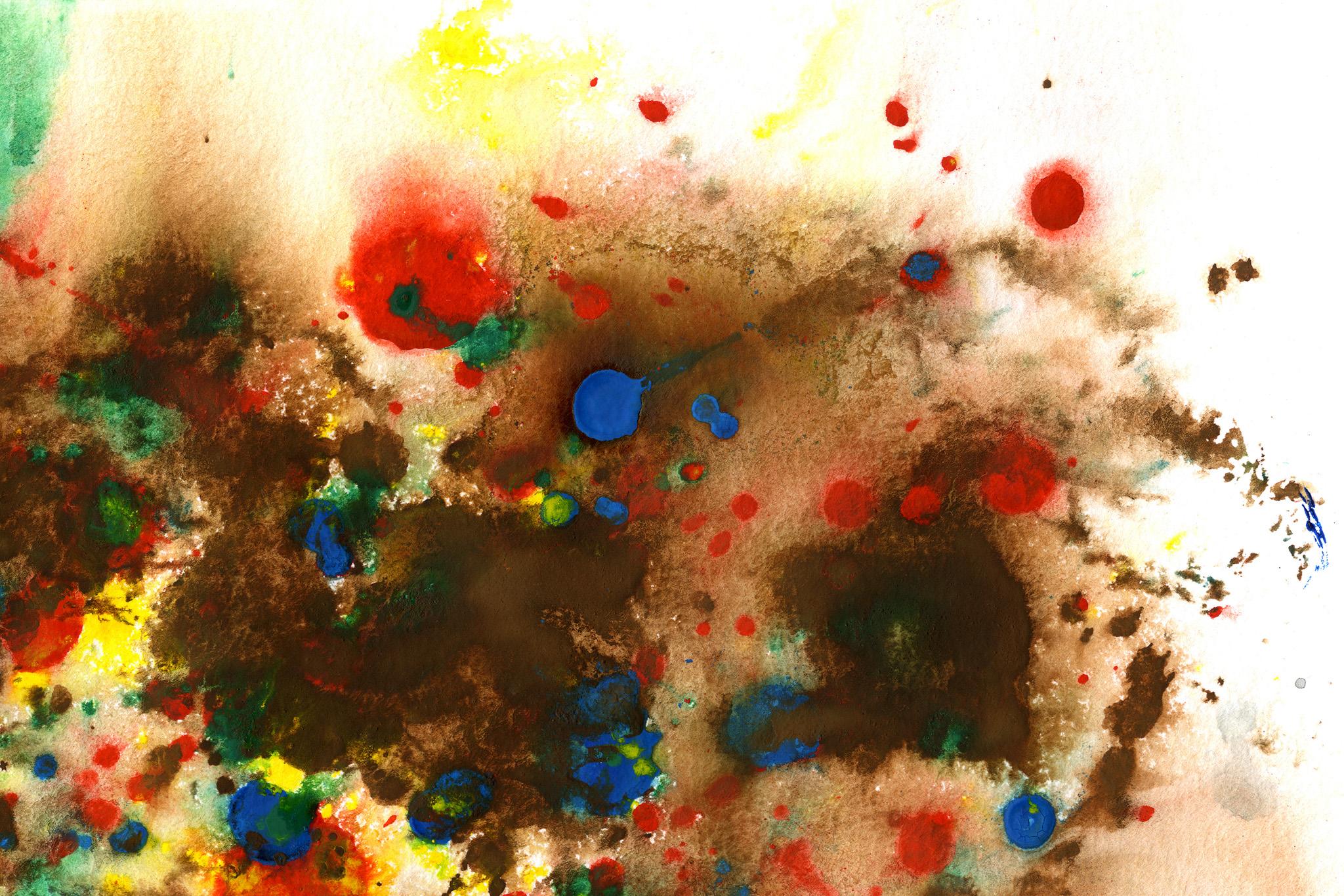 「多彩なカラーが滲んで混色する水彩紙」