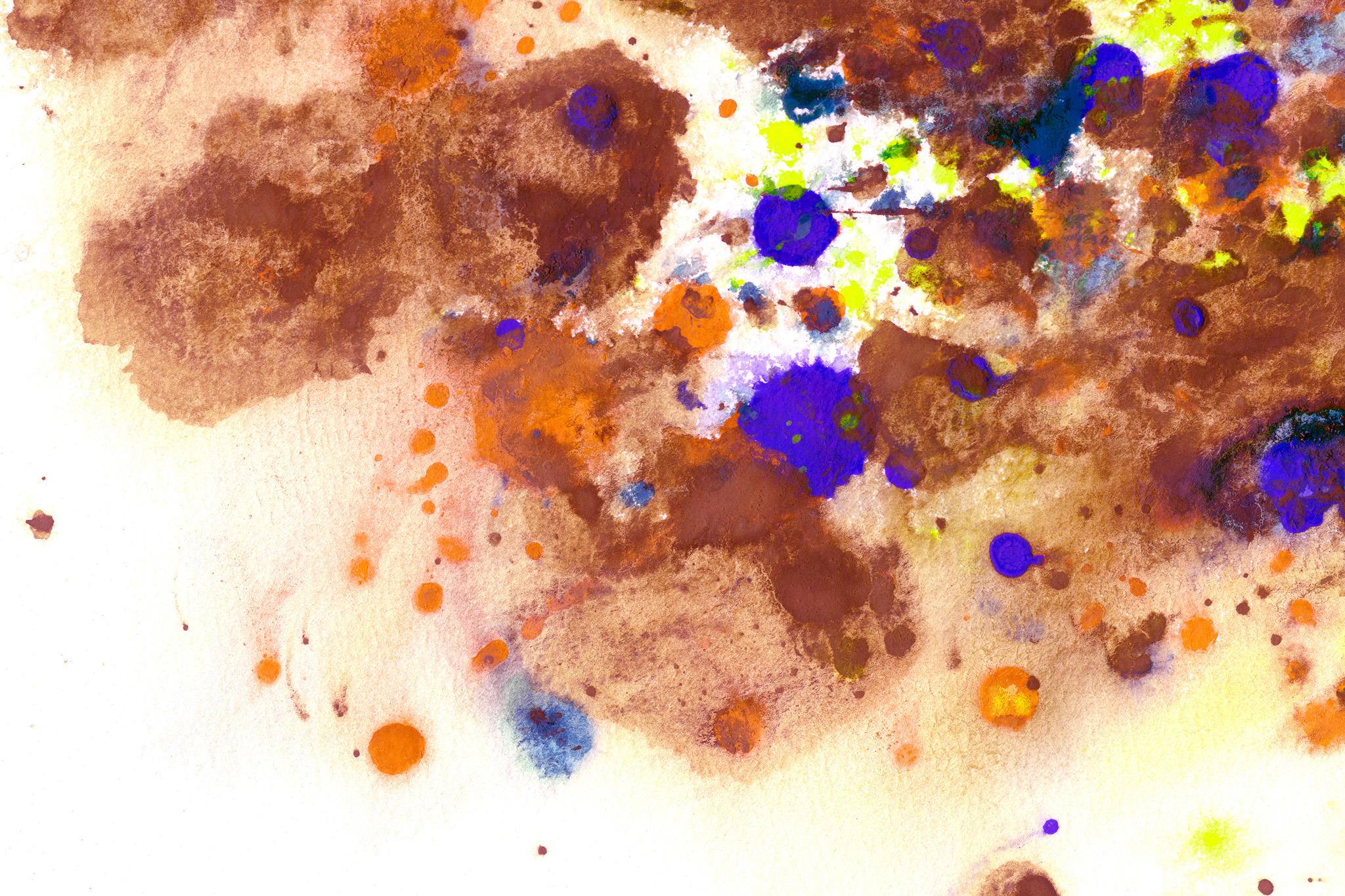 「茶色の滲みに落ちた紫の水彩絵具」