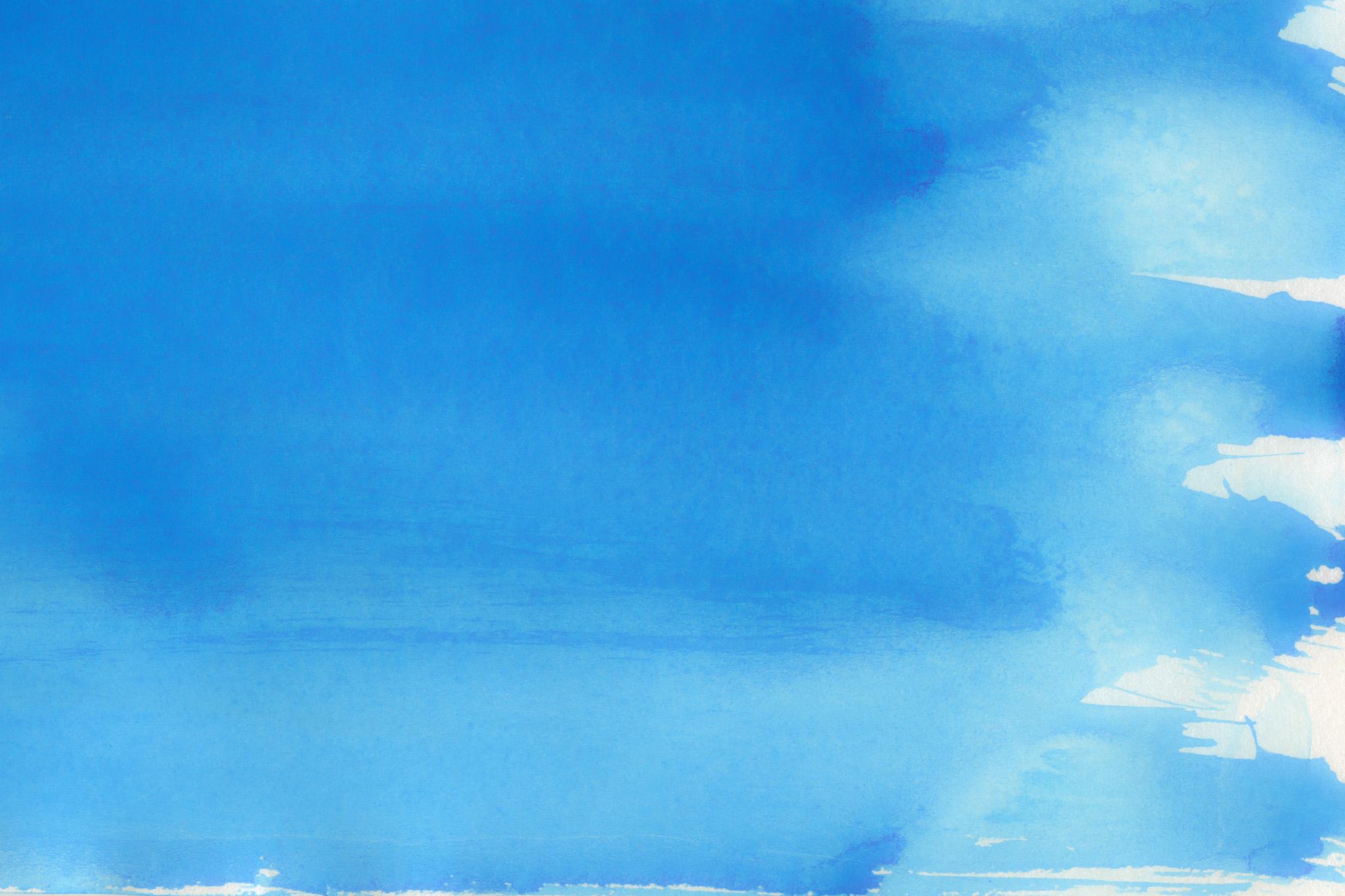 「ブルーに塗った水彩グラデーション」