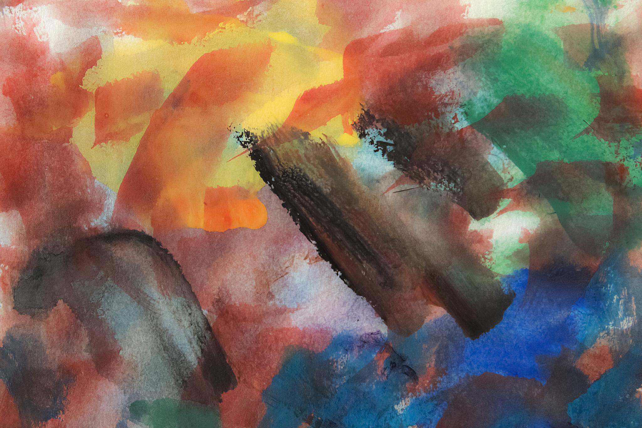 「多彩な筆跡の水彩薄塗り背景」