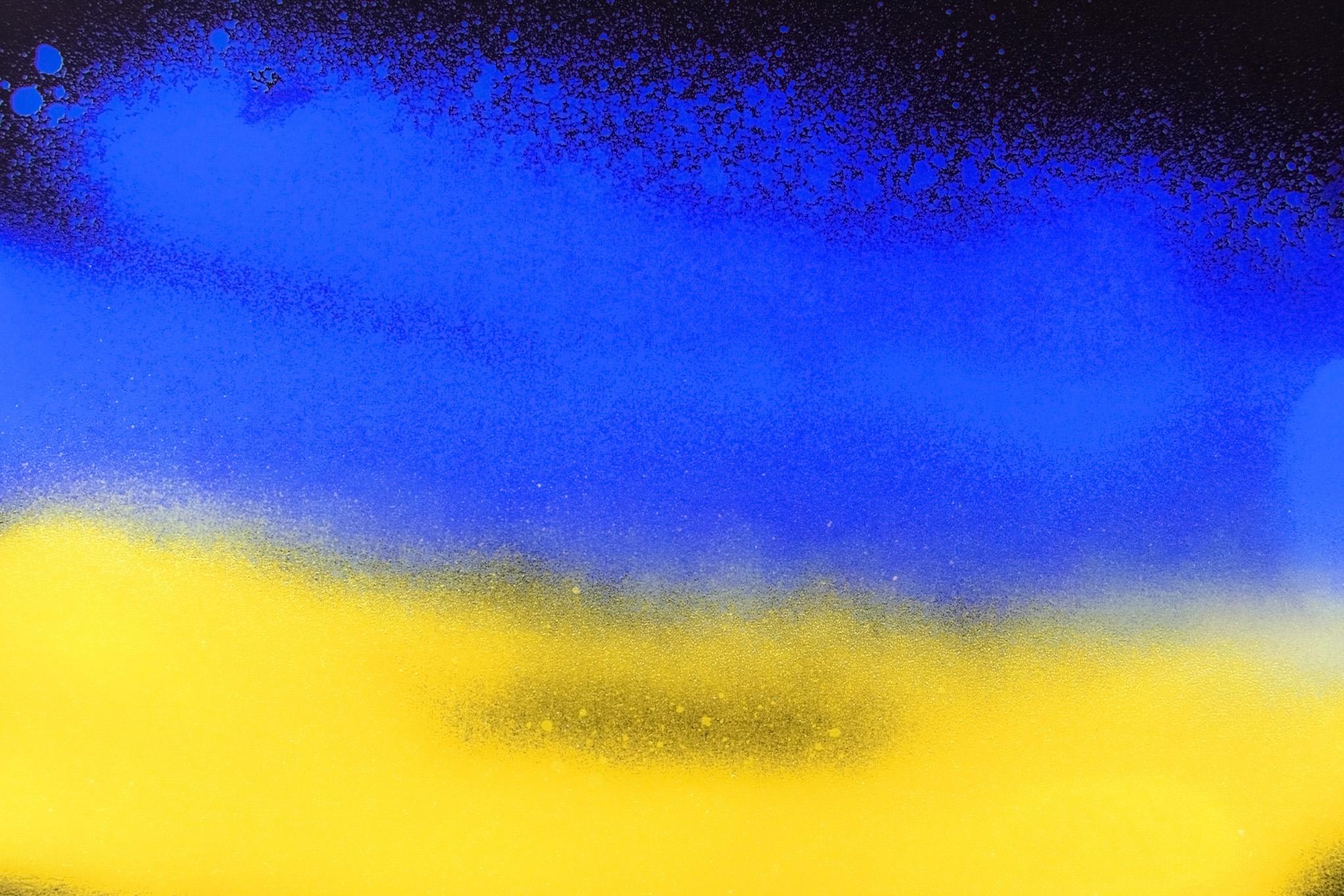 「青と黄のスプレーグラデーション」