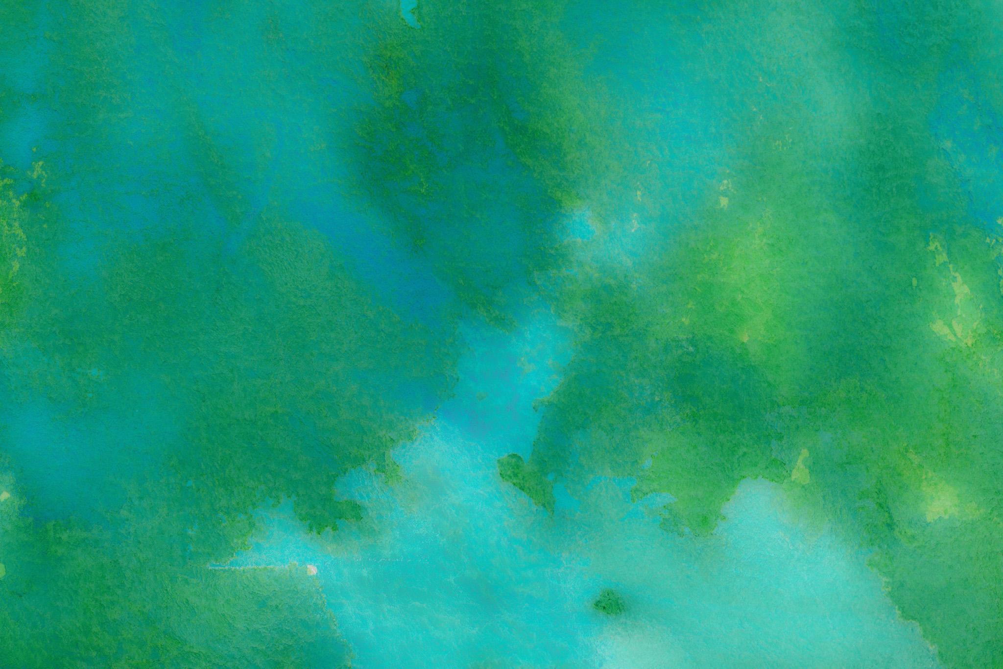 「エメラルドグリーンの水彩にじみ」