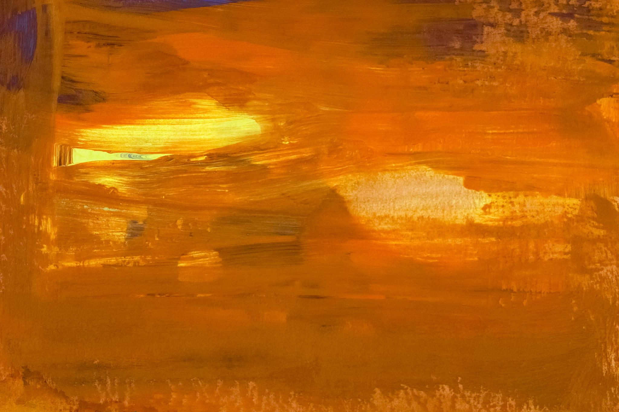 「茶色と黄色の厚く塗った絵の具」