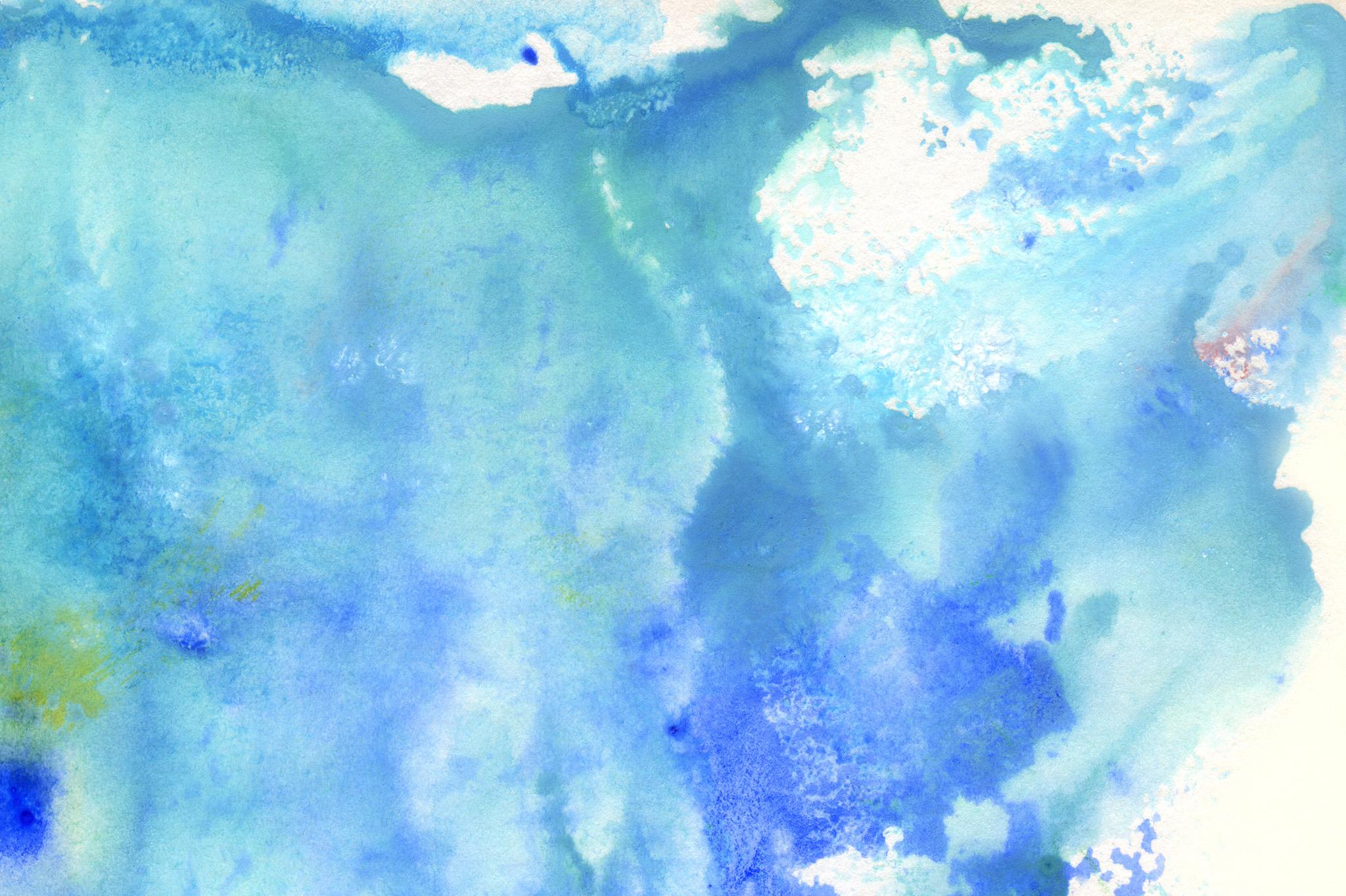 「波のような水色の水彩模様」