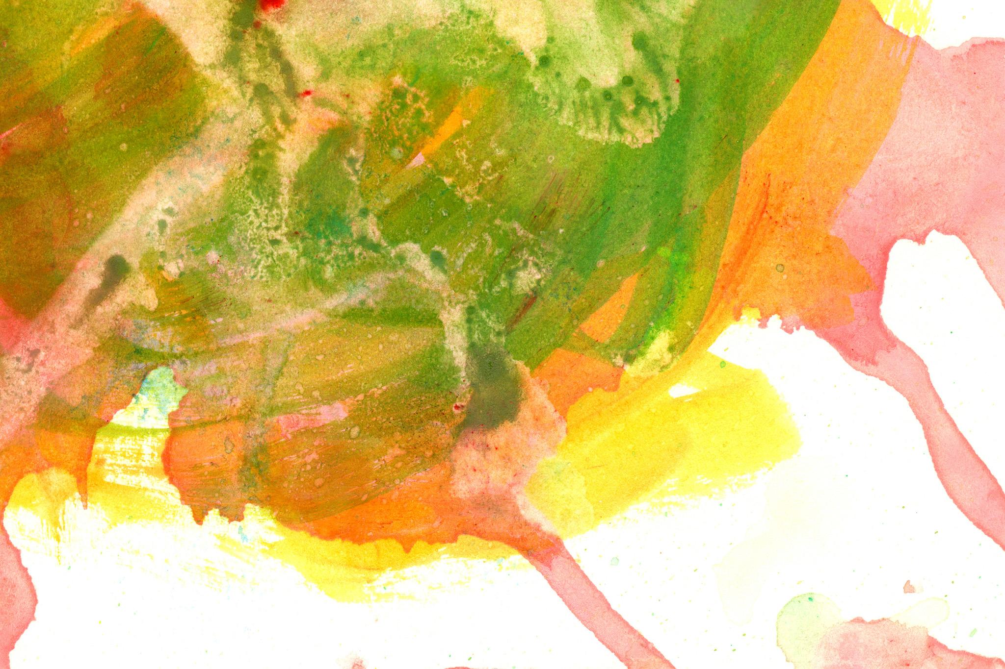 「赤緑黄の重ね塗りした水彩」