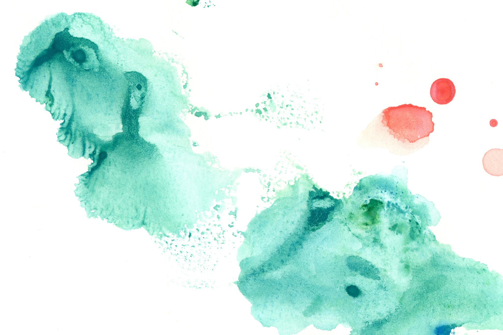 「緑と赤のにじむ水彩模様」