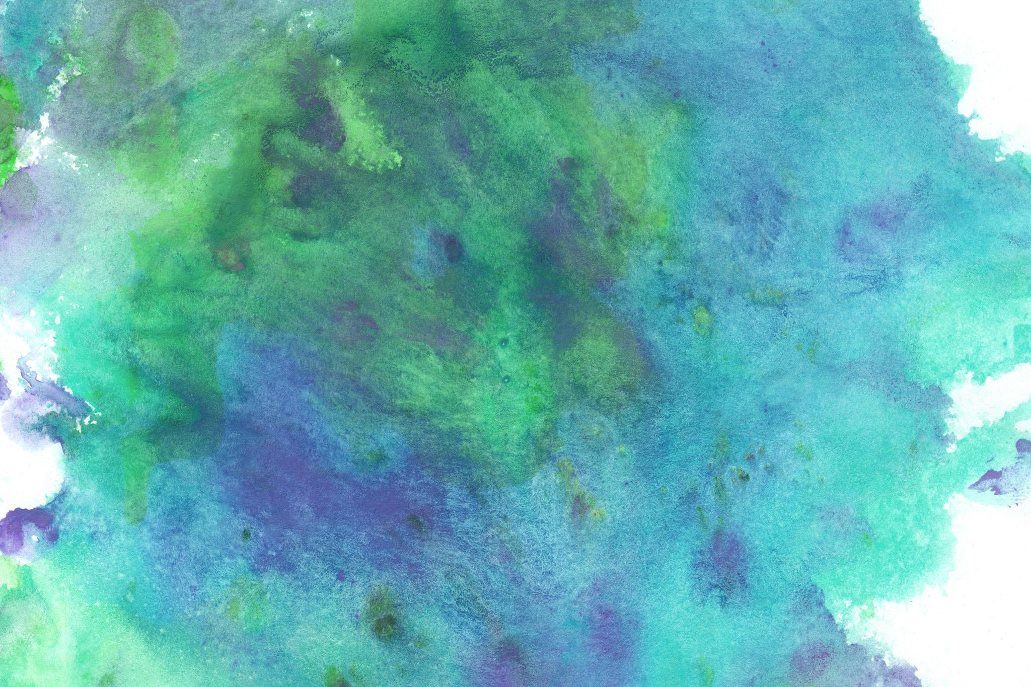 「ブルーとグリーンが美しく滲む水彩」