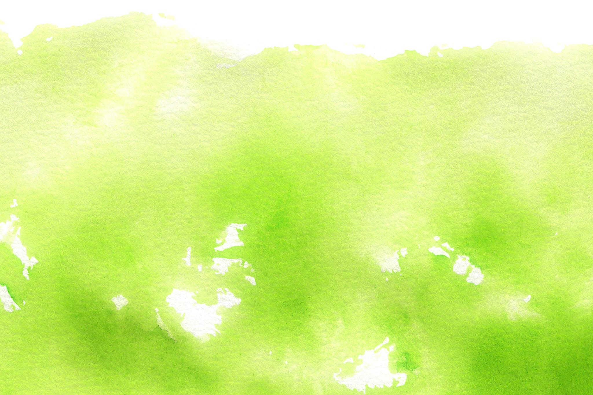 「スプリンググリーンの水彩にじみ」
