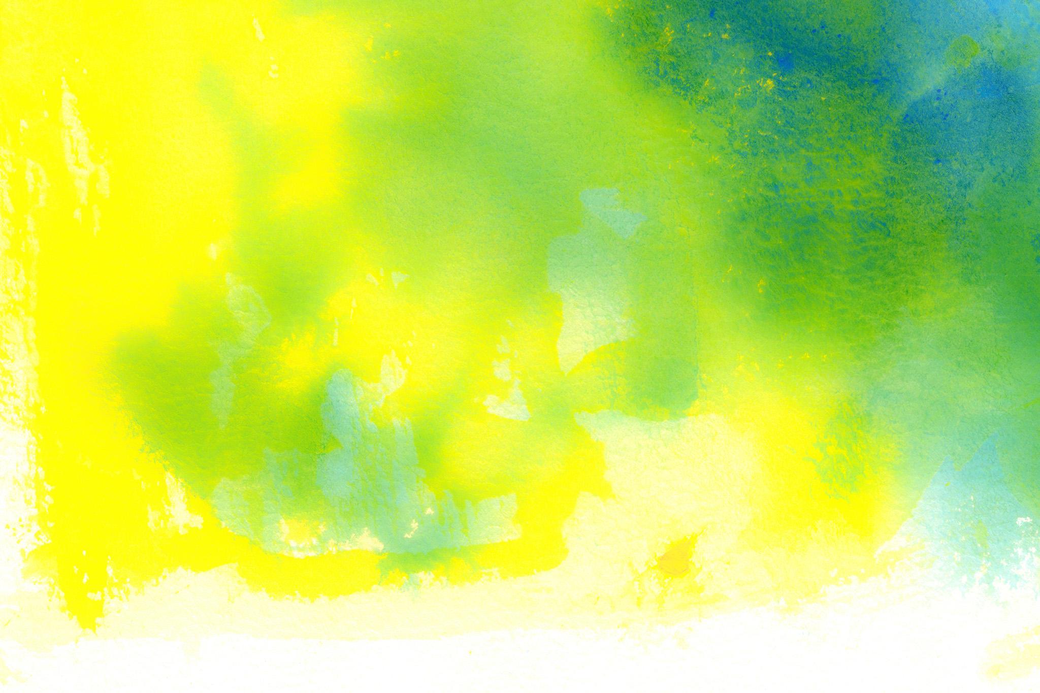 「イエローとグリーンの水彩テクスチャ」