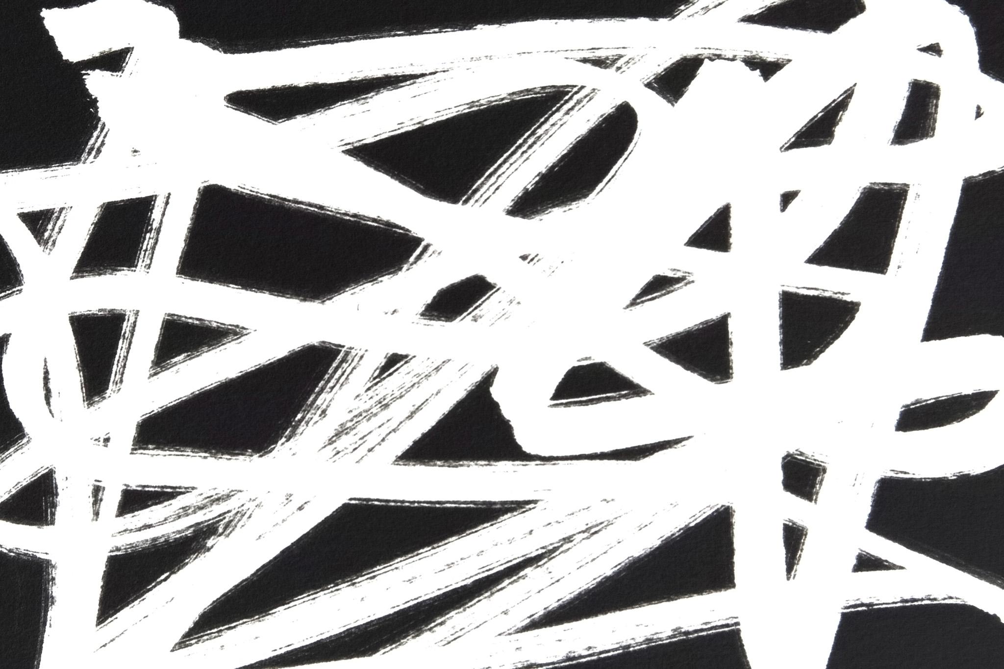 「乱雑な白ラインと黒背景」