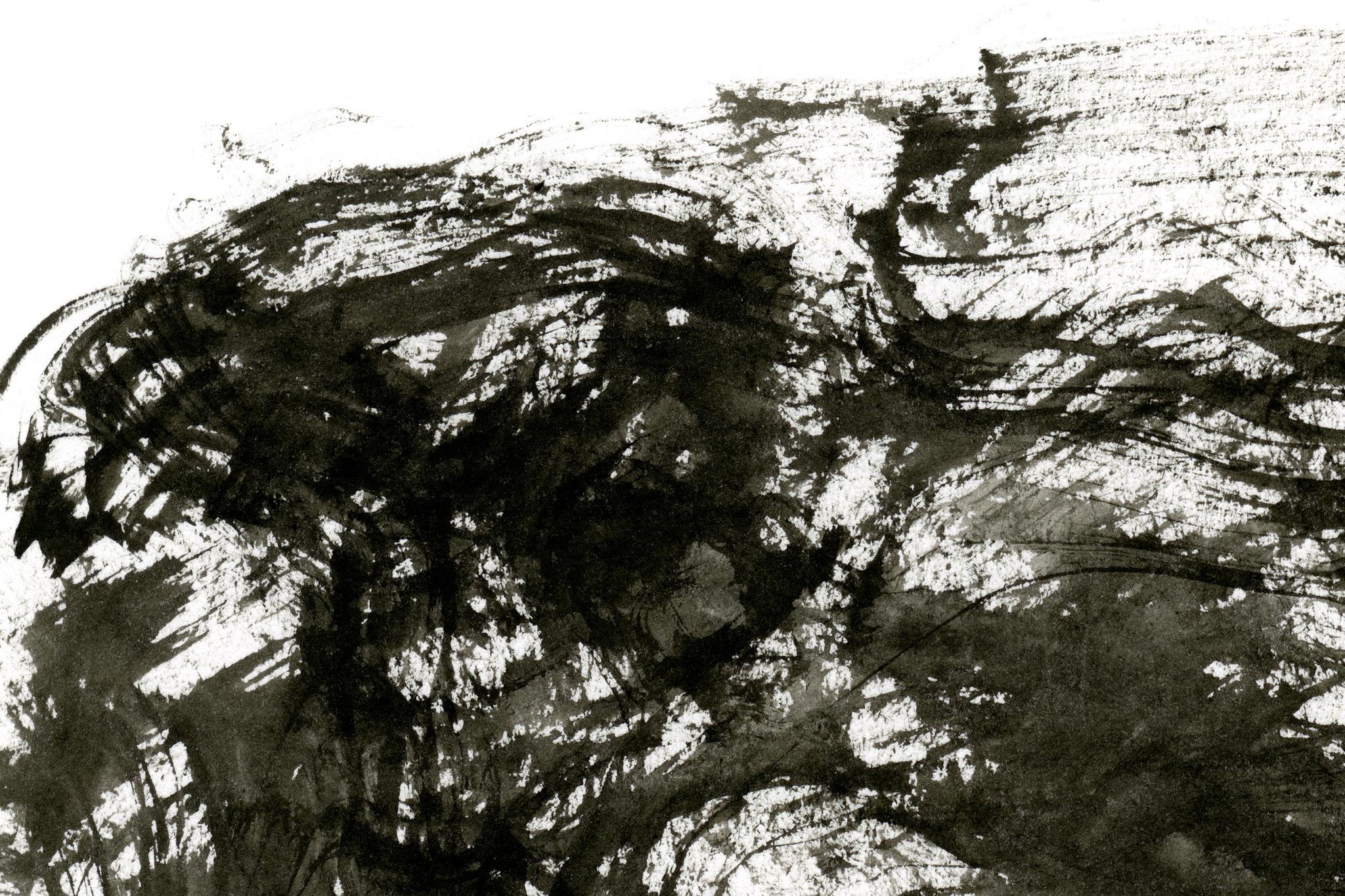 「墨の筆跡が掠れる白い紙」