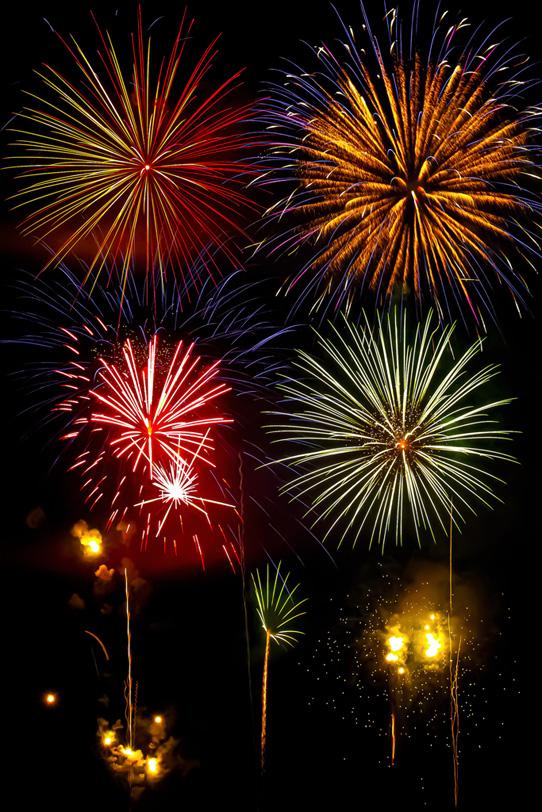 花火大会の夜空を飾る大輪の花の写真画像