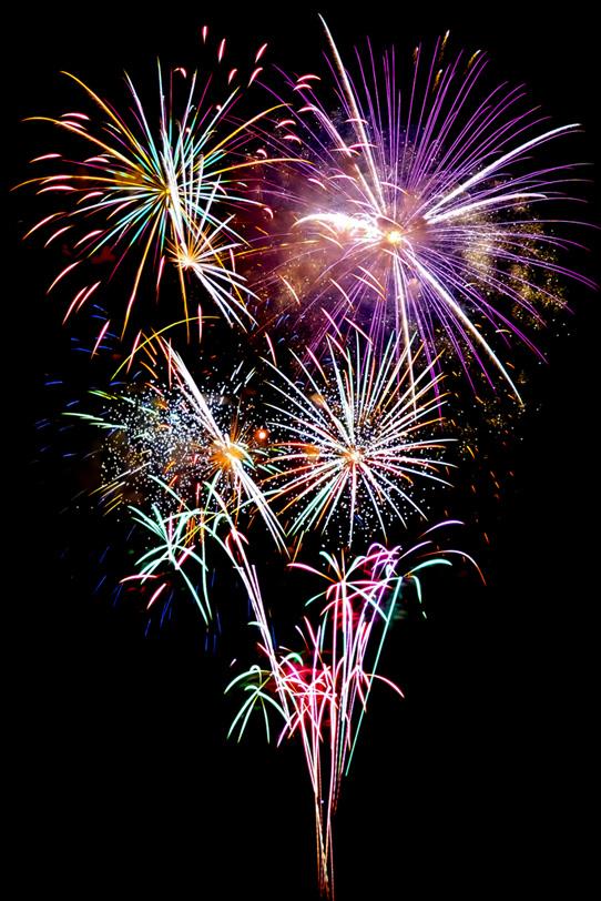 色鮮やかな光が弾ける花火大会の写真画像