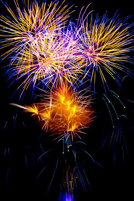 空に舞う打ち上げ花火の写真画像