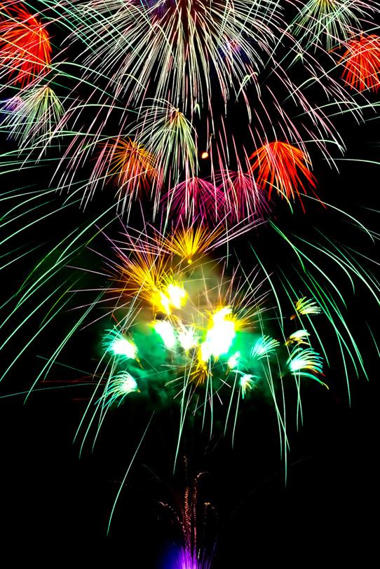 大きな花火の背景の写真画像