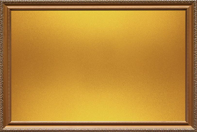 彫金が施されたゴールドの額縁の写真画像