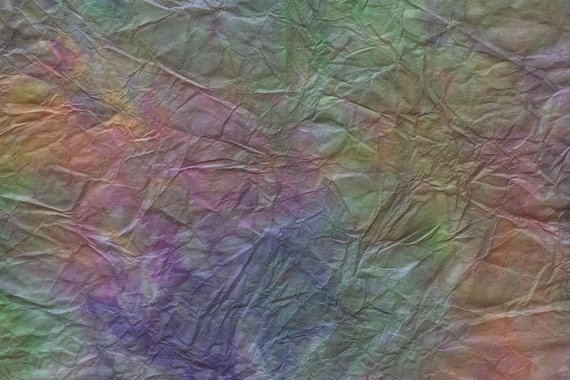 シワ入り虹色斑模様の揉染め和紙の写真画像