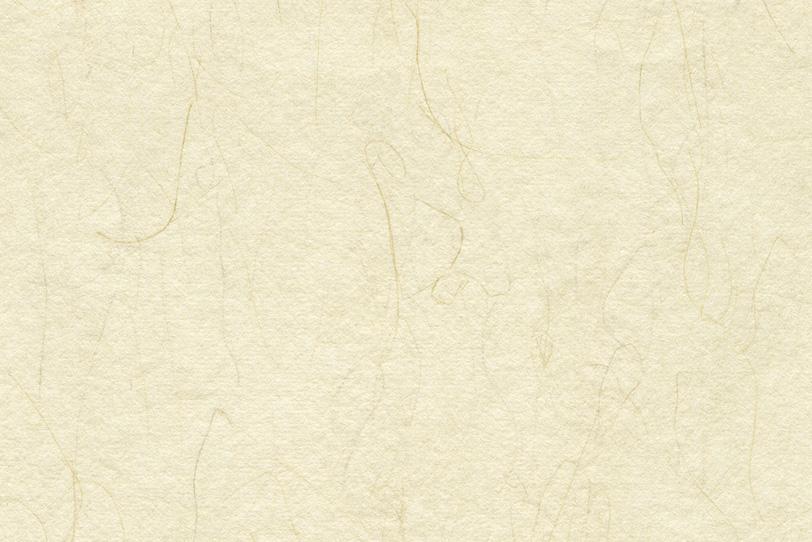 細長い楮の入った淡黄蘗色の和紙の写真画像