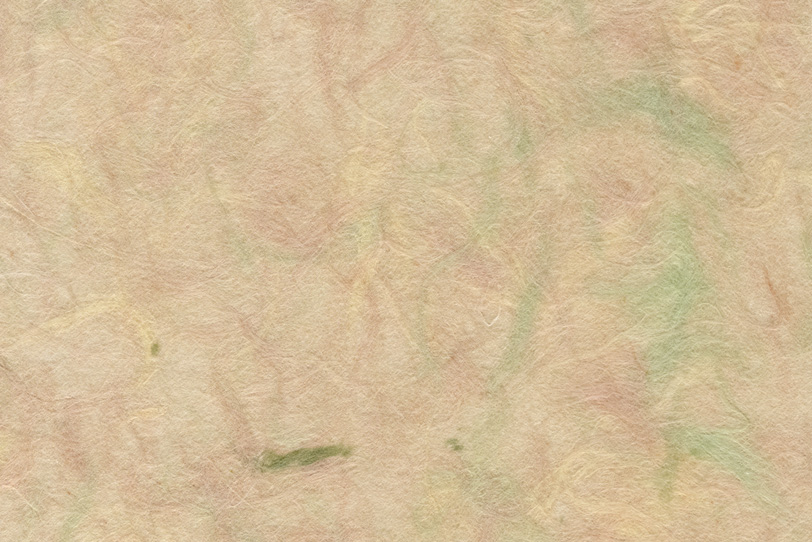 色付き楮が透ける肌色の和紙の写真画像