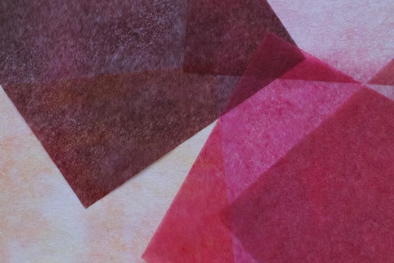 赤と茶色の極薄和紙のテクスチャの写真画像