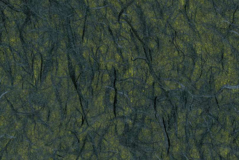 黄色の地に黒繊維が入った雲龍和紙の写真画像