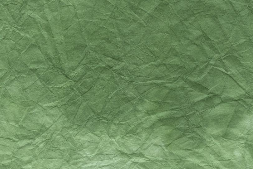 葉菜ような緑青色の揉絞染和紙の写真画像