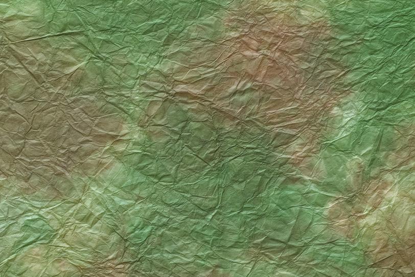 緑青色に茶色の斑のある揉染和紙の写真画像