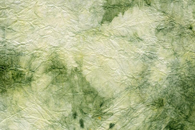 緑の水彩模様のような揉染和紙の写真画像