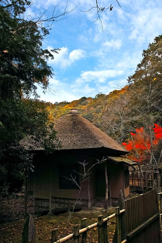 茶室のある和風の景色の写真画像