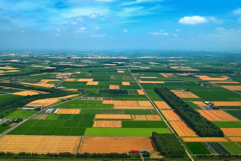 山と田園の風景の写真画像