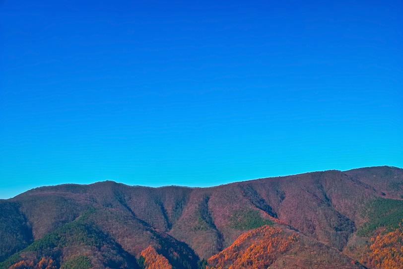 透き通った青い空と紅葉ある山裾の写真画像