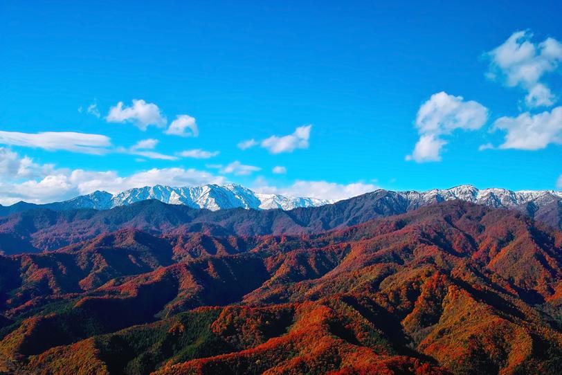 青空に映える紅葉の赤い山の写真画像