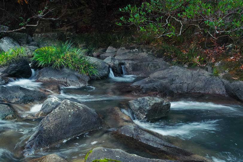 岩の間を流れる渓流の写真画像