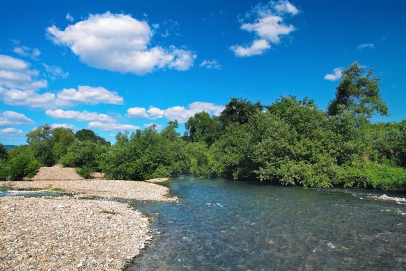 白い石が沢山ある河原を流れる清流のせせらぎの写真画像