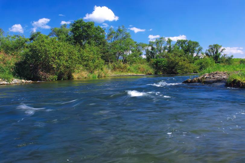 青く澄んだ水が流れる川の中流域の写真画像