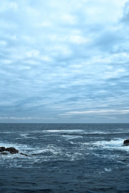 薄曇りの空と岩に砕ける波の写真画像