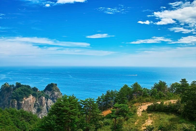 山の上から望む夏の海の写真画像