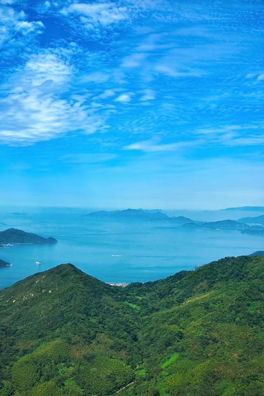 山と海と島の写真画像