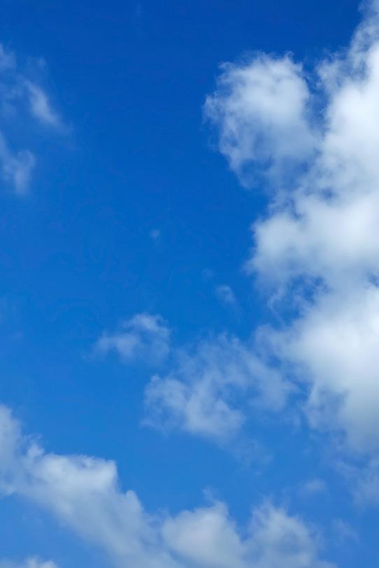 綿菓子のような雲と大きな青空の写真画像