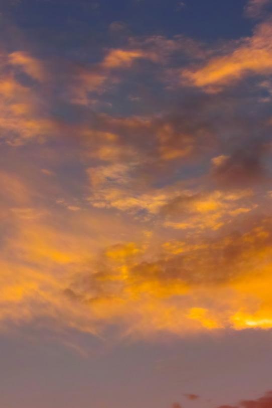 夕焼けの雲が美しく黄金色に輝くの写真画像