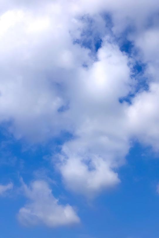 白い雲が張り付く青空の写真画像