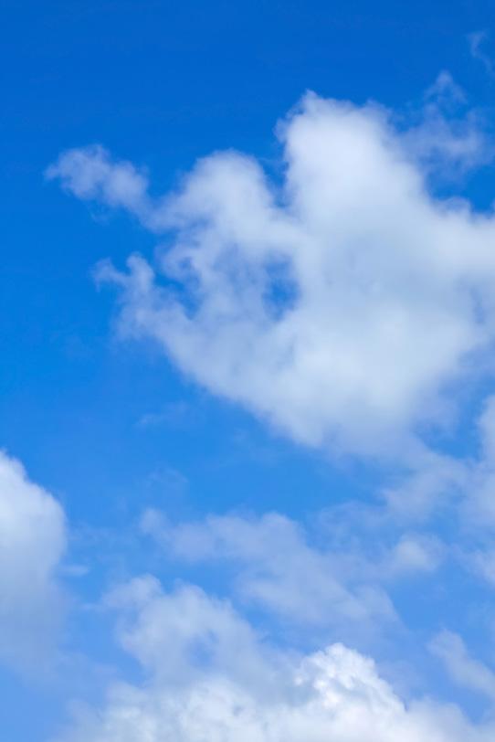 白い雲が踊る爽やかな青空の写真画像