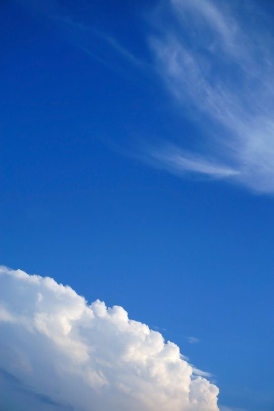 青空に浮かぶ筋雲と積乱雲の写真画像