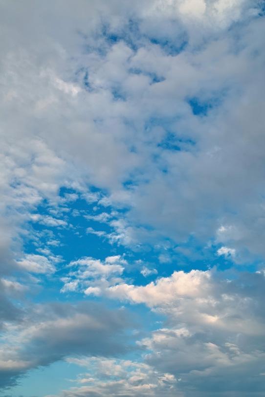 青空に群がる無数の雲の写真画像